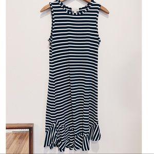 Maison Jules blue & white striped dress ruffle hem